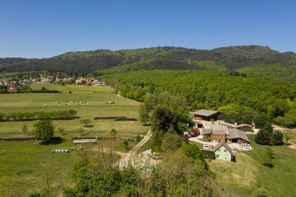 Vue aérienne de la ferme Motsch Gollentz (Yaourt de Sandrine -68 Osenbach
